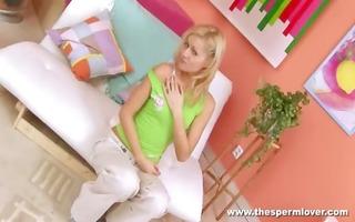 czech golden-haired playgirl fingering herself